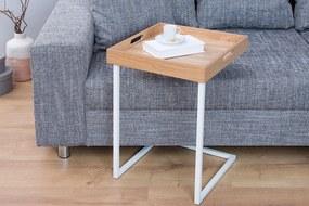 Odkladací stolík Cesar / biela- dub
