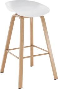 Barová stolička, biela/prírodná, BRAGA