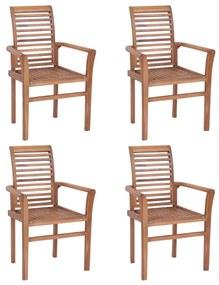 Stohovateľné jedálenské stoličky 4 ks masívne teakové drevo
