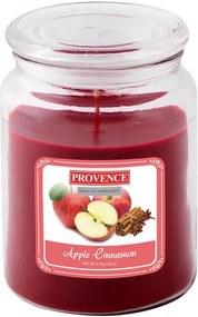 Sviečka v skle s viečkom, jablko a škorica