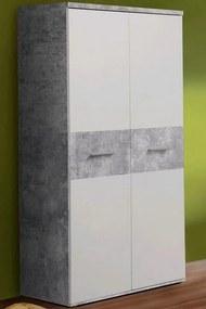 Skriňa Winnie S92, šedý betón/biela