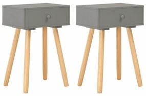 vidaXL Nočné stolíky 2 ks sivé masívne borovicové drevo