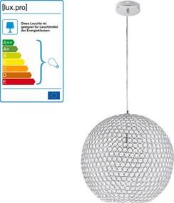 [lux.pro]® Dekoratívna dizajnová design závesná lampa / stropná lampa - chróm-krištáľ (1 x E14)