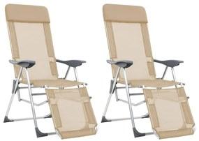 vidaXL Skladacie kempingové stoličky s podnožkami 2ks, krémové, hliník