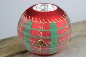 Červený guľatý svietnik s farebným vzorom 8,5cm