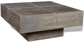 vidaXL Konferenčný stolík, tmavohnedý, štvorcový, mangový masív