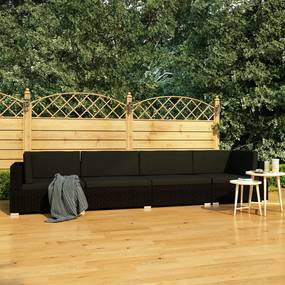 vidaXL 4-dielna záhradná sedacia súprava+podložky, polyratan, čierna