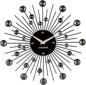 KARLSSON Nástenné hodiny Sunburst stredné čierne krištály
