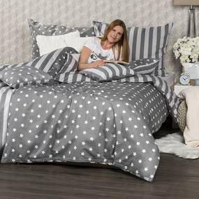 4Home Bavlnené obliečky Stars sivá, 220 x 200 cm, 2 ks 70 x 90 cm