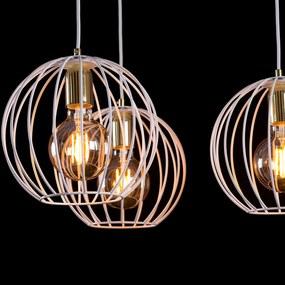 Závesná lampa Albio 6 klietkové tienidlá, biela