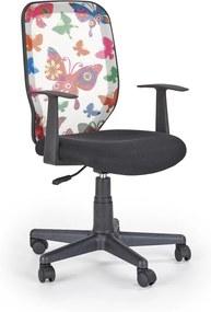 HALMAR Kiwi detská stolička na kolieskach s podrúčkami čierna / vzor motýle
