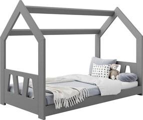 AMI nábytok Detská posteľ DOMČEK D2A 80x160cm masív sivá