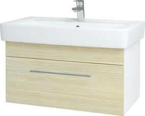 Dřevojas - Koupelnová skříň Q UNO SZZ 80 - N01 Bílá lesk / Úchytka T02 / D04 Dub (20104B)
