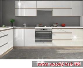 TEMPO KONDELA Kuchynská zostava 2,6m, biely vysoký lesk HG, LINE BIELA