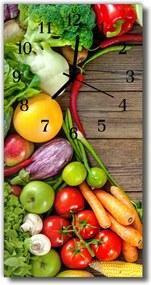 Sklenené hodiny vertikálne  Kuchynská zelenina farebné drevo