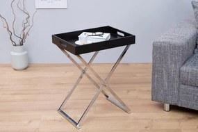 Konferenčný+ raňajkový stolík Valet čierná+ strieborná