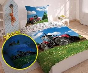 DETEXPOL Svietiace obliečky Traktor na lúke Bavlna, 140/200, 70/80 cm