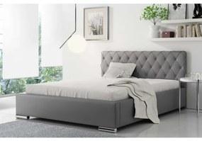 Čalúnená manželská posteľ Piero 120x200, šedá eko koža