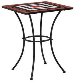 vidaXL Mozaikový bistro stolík, tehlovo biely 60 cm, keramika