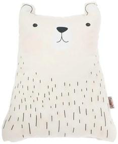 Biely detský vankúšik s prímesou bavlny Mike & Co. NEW YORK Pillow Toy Bear Cute, 22 x 30 cm