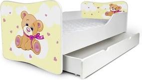MAXMAX Detská posteľ so zásuvkou MACKO žltý + matrac ZADARMO