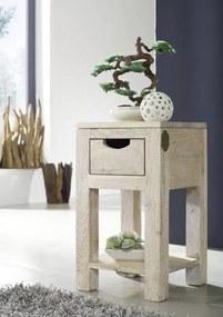 Masiv24 - WHITE WOOD Príručný stolík 29x29x50 cm, akácia