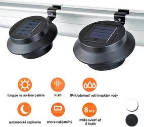 Solárna lampa na odkvap vo voliteľných farbách- 2 ks- Čierna