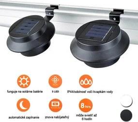 Solárna lampa na odkvap vo voliteľných farbách- 2 ks- Biela
