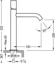 STUDY-TRES Umývadlová jednopáková batéria s nadstavcom (26130701)