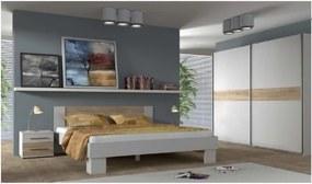 COLORADO biela/dub sonoma Posteľ 180 s roštom+Skriňa 215cm+2x nočný stolík
