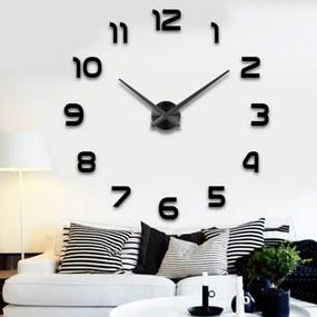 KIK Nástenné interiérové hodiny, samolepiace, čierne, KX7845