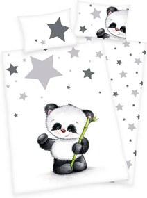 HERDING Obliečky do postieľky flanelové Panda Bavlna Flanel 100/135, 40/60 cm