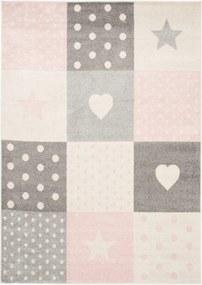 Detský kusový koberec Bodky ružový, Velikosti 80x150cm