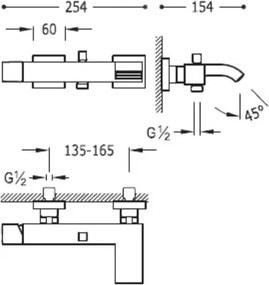 TRES - Jednopáková batéria pre vaňu-sprchu s kaskádou (0071700203BM)