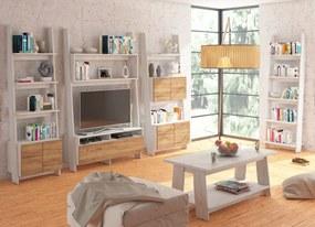 MEBLOCROSS Rack obývacia izba craft biely / craft zlatý