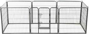 170571 Edco Oceľová ohrádka pre psov s 8 panelmi 80x80 cm čierna