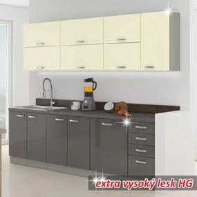 TEMPO KONDELA Prado 260 kuchyňa sivá / krémová