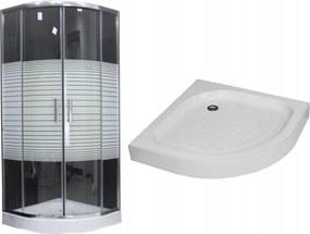 MAXMAX Sprchovací kút s vaničkou MAXMAX MEXEN RIO stripe - štvrťkruh 90x90 cm