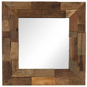 vidaXL Zrkadlo, recyklovaný masív 50x50 cm