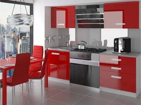 Malá paneláková červená kuchyňa Sasanka 120 cm Úchytka R
