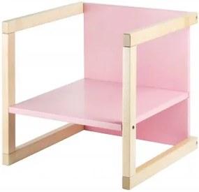 WOOD PARTNER Detská stolička 3v1 WENDY natur lak / ružová