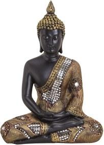 Wurm Dekorační soška Buddha, černozlatá