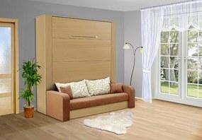 Nabytekmorava Sklapacia posteľ s pohovkou VS 3071P, 200x180cm nosnost postele: štandardná nosnosť, farba lamina: breza 1715, farba pohovky: nubuk 133 caramel