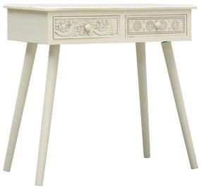 vidaXL Konzolový stolík s 2 zásuvkami sivý 80x40x77,8 cm drevený vyrezávaný