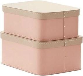 lovel.sk Obdĺžikové úložné boxy Minimalistic 2ks - ružové