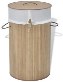 Bambusový kôš na prádlo, okrúhly, prírodná farba