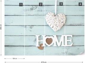 "Fototapeta GLIX - Vintage Chic ""Home"" Painted Wooden Planks  + lepidlo ZADARMO Vliesová tapeta  - 416x290 cm"