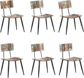 Jedálenská stolička 6 ks recyklované drevo Dekorhome