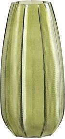 Zelená sklenená váza WOOOD Kali, výška 28 cm