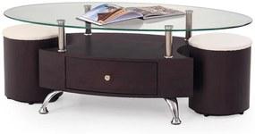 HALMAR Stella sklenený konferenčný stolík wenge / priehľadná
